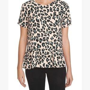 1. State Leopard Animal Print Peplum Blouse